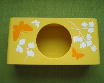 Vintage 70s Yellow Tissue Box Holder With Butterflies And Flowers