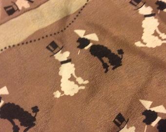 Silk scarf, poodles, mocha, cream and black