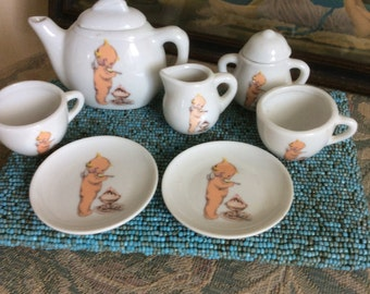 SALE REDUCED! Vintage Doll Tea Set, Porcelain, 9pc., Cutiest Kewpie design!!