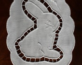 Easter bunny napkin. Handmade richelieu embroidery. White cutwork doily. Original tablecloth.  Handmade  cutwork.  Easter doily.  Home decor