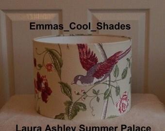 New Handmade Lampshade - Laura Ashley Summer Palace Cranberry Red Fabric - Drum Bepoke Designer Birds
