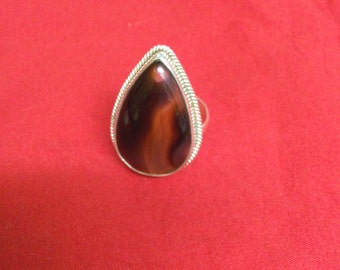 Multi Onyx with 92.5 Sterling Silver Ring Pear Shape Ring