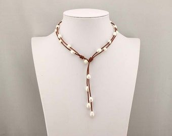 Pearl leather necklace, brown necklace, pearl necklace, leather necklace, knot necklace, boho necklace, statement necklace, choker, X 331