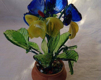 Glass Flowers Pansies. Stained Glass. Lampwork