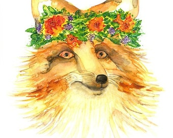 """fox art Beautiful Fox with a floral bouquet of flowers on his head Original Watercolor Painting Art Print 9 x13"""" artwork Modern home Décor"""