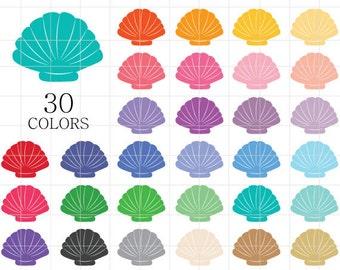 Seashell Clipart, Sea Shells Clip Art, Scallop Seashells, Colorful Seashells, Shells Clipart, Digital Seashells, Beach Clipart, Ocean Life