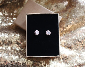 Beautiful Rose Gold Crystal Studded Earrings - Bridesmaid gift