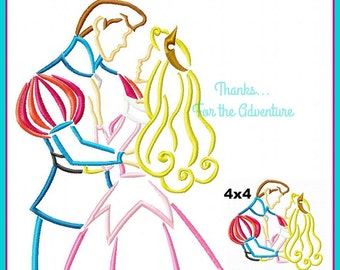 Princess Aurora and Prince Phillip from Sleeping Beauty Sketch Digital Embroidery Machine Applique Design File 4x4 5x7 6x10