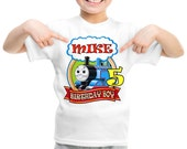 Personalized Thomas Train Birthday Shirt, Custom Tshirt, Birthday Tshirt
