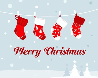 Christmas Card - Stockings Snow Merry Pretty Xmas Blank Card CS1025