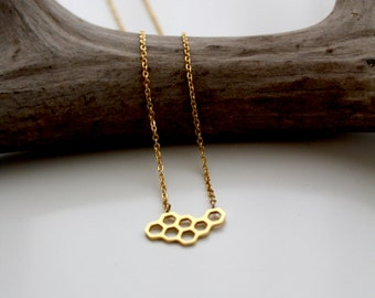 Dainty Honeycomb Necklace Minimalist 24k Gold Plated