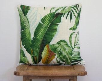 SALE Tommy Bahama tropical coastal palm leaf print cushion pillow cover 45 x 45cm square