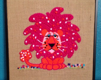 Framed Finished Pink Lion Animal Crewel Creatures Vintage Pattern Burlap Embroidery