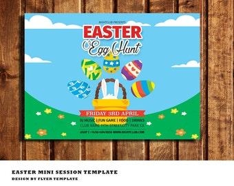 Easter Egg Hunt Flyer Template - Easter Flyer - Easter Invite Flyer - Adobe Photoshop & Photoshop Elements - INSTANT DOWNLOAD