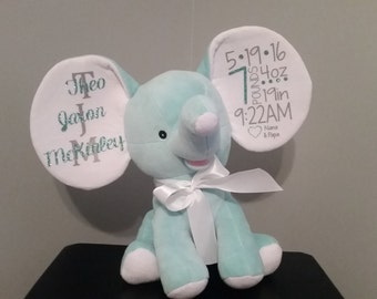 Personalized Plush Elephant / Baby Gift / Baptism Gift / Annoucement