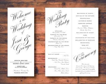 "Modern Calligraphy Printable Wedding Program Template - 4.25"" x 11"""