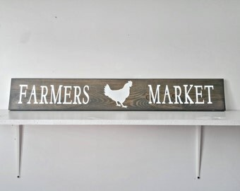 Farmers Market Sign | Kitchen Wall Decor | Rustic Wooden Decor | Chicken Sign Decor |