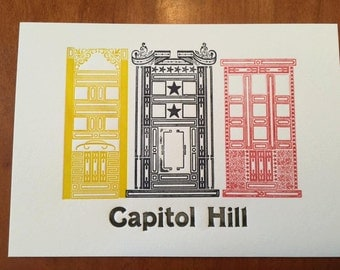 Capitol Hill Row Houses - DC - Limited Edition Letterpress Art Print