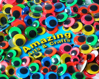 500 Self Adhesive Wiggle Eyes, with Coloured backgrounds, Assorted size & colour