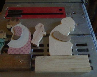 set of 6 unfinished mom n baby bear/MADE TO ORDER/large mom