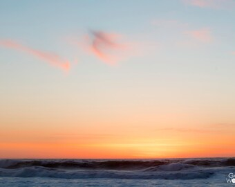 Wispy Clouds - Pacific Ocean Sunset California Coast - Fine Art Print - 8x10 11x16, Landscape Photograph