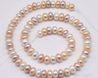 7-8mm multicolor button pearls, genuine natural colorful freshwater pearl beads, full strand roundel pearls natural multi-color, FB500-MS