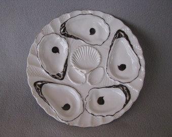 Oyster Plate Vintage 5 Wells - White / Dark Espresso Brown
