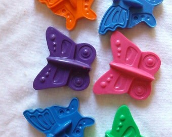 Recycled Crayons - Bright Butterfly Shaped Crayon - Set of 6 - Children Birthday Party Favor Gift