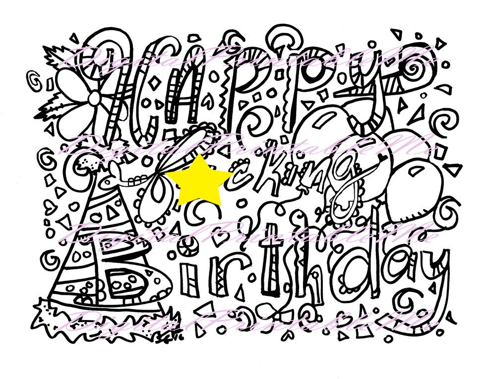 swear coloring page happy fking birthday gift printable