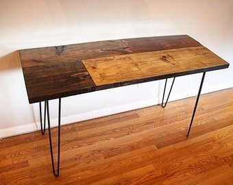 Reclaimed desk, wood desk, industrial desk, desk, hairpin desk, reclaimed wood desk, industrial wood desk