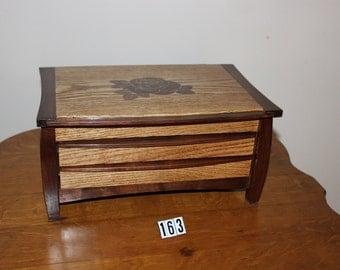Oak and Walnut Jewelry Box with Rose Inlay