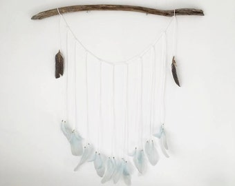 Beach Feather Hanging Handmade - Driftwood and Feathers Home Decor - Sea Drift Wall Hanging