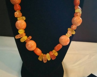 Spring Is Here, Orange and Yellow Necklace Set