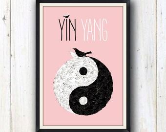 Yin Yang spiritual art print made from birds/ Spiritual yoga art