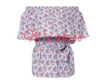 Pure cotton blouse/open shoulders blouse/100% cotton blouse