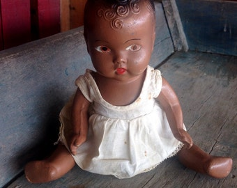 Composition Black Baby Doll    Old Compo Black Baby   Antique Black Doll