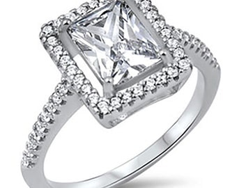 Sterling Silver CZ Women's Radiant Cut Engagement Ring