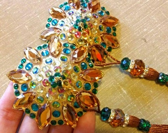 "Green gold and brown burlesque pasties nipple tassels: The ""Topless""!"