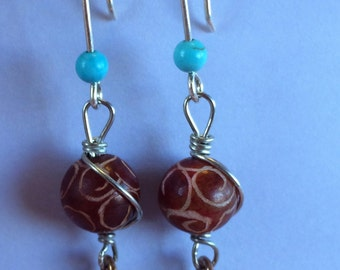 Etched Stone Bead Sterling Silver Wire Earrings with Copper Peace Symbol