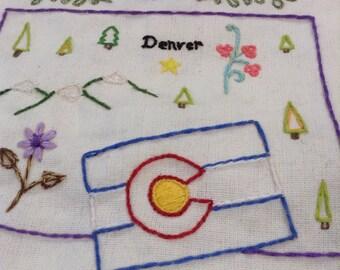 Colorful Colorado Hand Sewn Embroidery Tea Towel