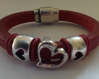 Red Leather Bracelet with Silver Hearts