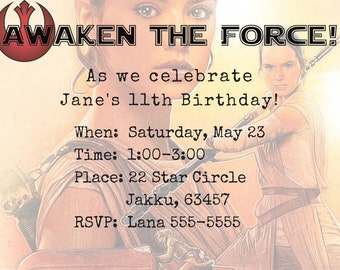 Star Wars Rey Digital  Printable PDF JPEG Invitation