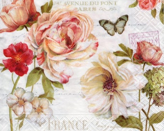 Decoupage Paper Napkins Marche Aux Fleurs Shabby Style Floral (1x Napkin) ideal for Decoupage, Collage, Mixed Media, Crafts