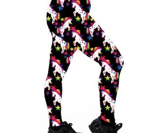 Team Unicorn Leggings. Printed Leggings. Yoga Leggings. Roller Derby Leggings. Workout Leggings. Fitness Leggings. Rainbow Leggings.