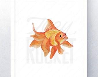 Watercolor Print: Goldfish