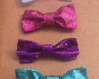 Set of Assorted Girls Glitter Hair Bows (White/Blue/Purple/Pink)