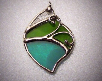 Stained glass (hand-made necklace) pendant