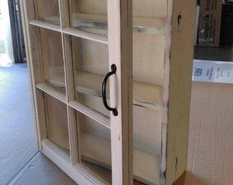 military display cabinet - Medicine cabinet - rustic display cabinet - window cabinet - rustic wood windows - shabby 6 pane window cabinet