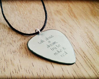 Silver Guitar Pick, Springsteen, Silver plectrum, Personalized Gift, Talk about a dream, song lyrics, customized guitar pick, music jewelry
