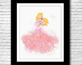 Princess Aurora Sleeping Beauty watercolour print